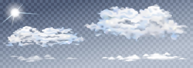 Nuages transparents vecteur et soleil nature et ciel