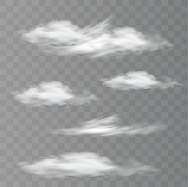 Nuages de vecteur réaliste sur fond transparent
