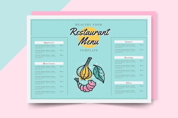 Nuances bleues pour le menu du restaurant de restauration rapide