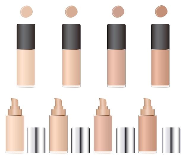 Nuances de correcteur. emballage en verre avec une pompe. un maquillage du visage cosmétique. couleur de peau beige. femelle. illustration vectorielle.