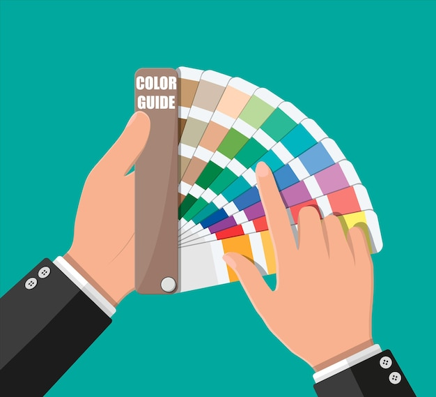 Nuancier. guide de la palette de couleurs en main. échelle colorée.