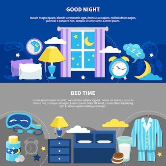 Nuit au coucher 2 bannières plates