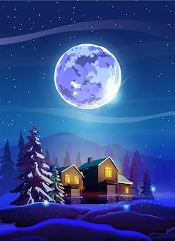 Nuit beau paysage avec maisons d'hiver, arbres, montagne et lune. brillez avec la lune violette, la neige et le ciel bleu profond.