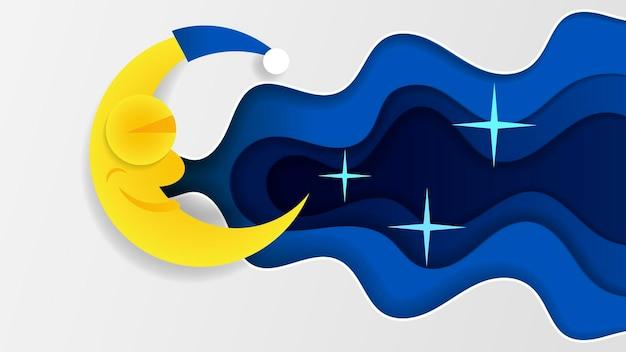 Nuit ciel art design lune étoile papier dessin animé sommeil illustration vectorielle fond graphique nuage nature