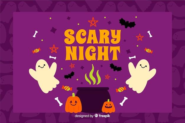 Nuit effrayante à la main dessinée fond d'halloween