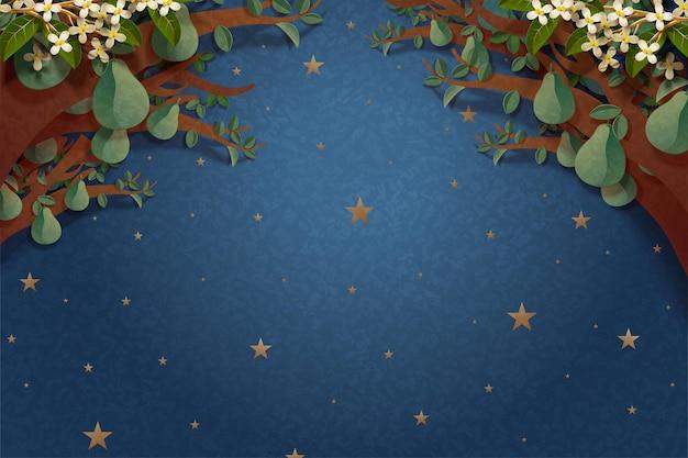 Nuit étoilée avec cadre de pomelos dans un style art papier