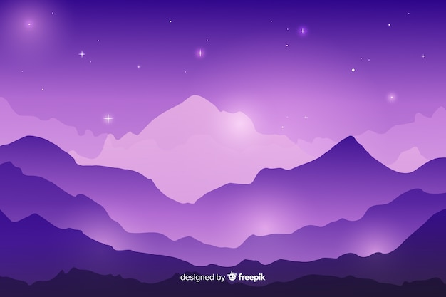 Nuit étoilée sur une chaîne de montagnes
