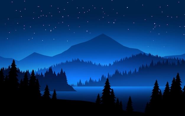 Nuit étoilée sur la montagne brumeuse