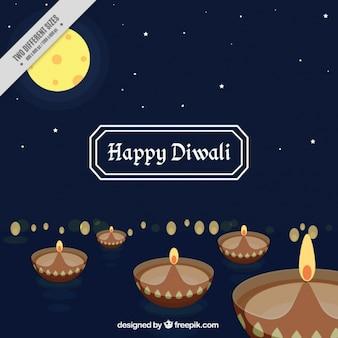 Nuit fond décoratif avec des bougies de diwali