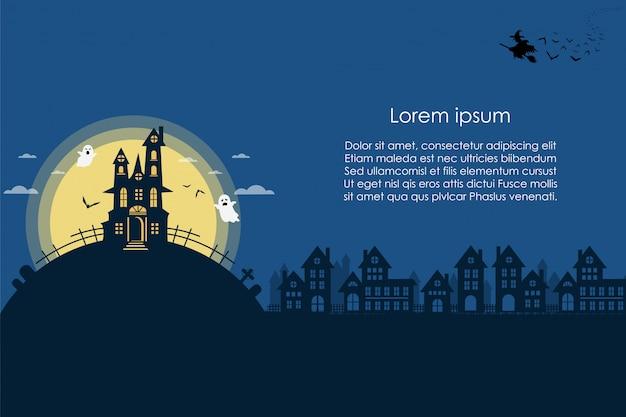 Nuit d'halloween sur la bannière bleue