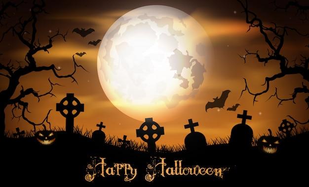 Nuit d'halloween avec citrouille sur le cimetière
