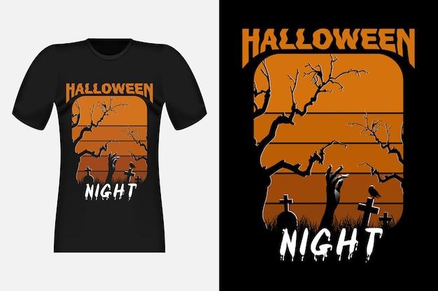 Nuit d'halloween avec la conception de t-shirt rétro vintage de corbeau