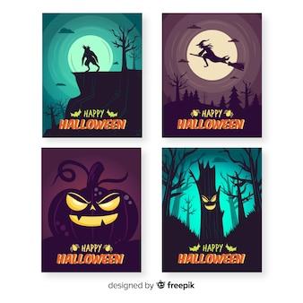 Nuit d'halloween dessinée à la main avec la collection de cartes de la pleine lune