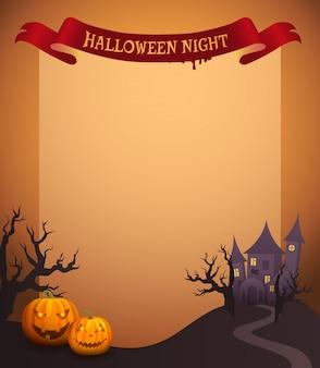 Nuit d'halloween en illustration de ruban