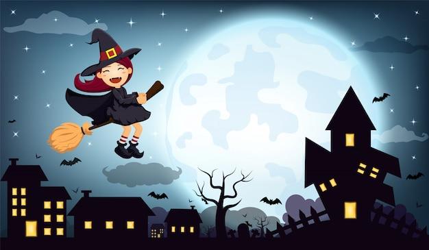 Nuit d'halloween maison de sorcière à la pleine lune