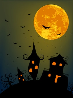 Nuit d'halloween avec la pleine lune