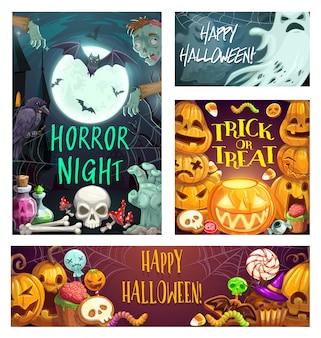 Nuit d'horreur, fête d'halloween, tour ou friandises