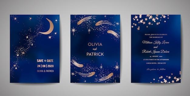 Nuit magique ciel bleu foncé avec des étoiles scintillantes vecteur invitation de mariage. ensemble de cartes save the date avec fond d'éclaboussure de poudre de paillettes d'or, poussière dorée dessinée à la main, voie lactée de minuit, conte de fées