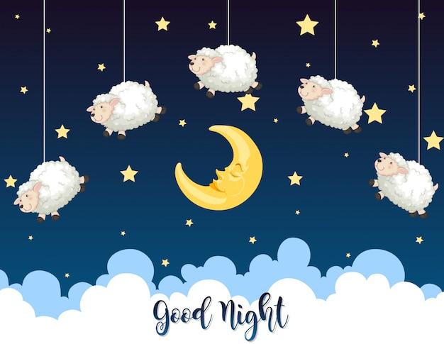 Nuit avec moutons dans le ciel