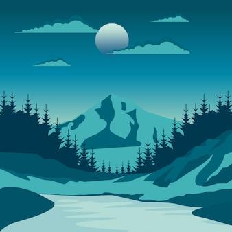 Nuit nature paysage dans la campagne avec une pleine lune et un ciel stary