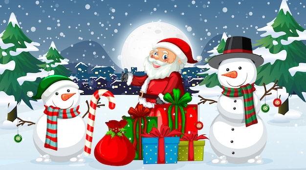 Nuit de noël avec père noël et bonhomme de neige