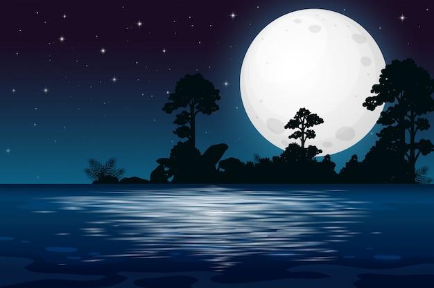 Une nuit de pleine lune au bord du lac