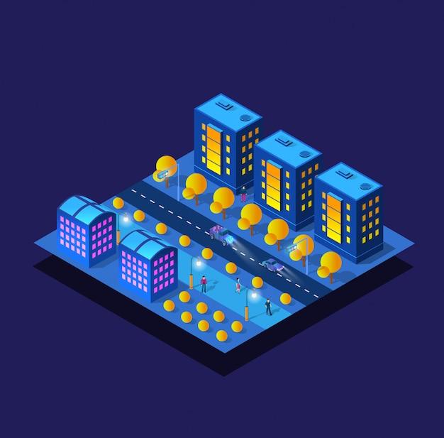 La nuit smart city future néon ultraviolet