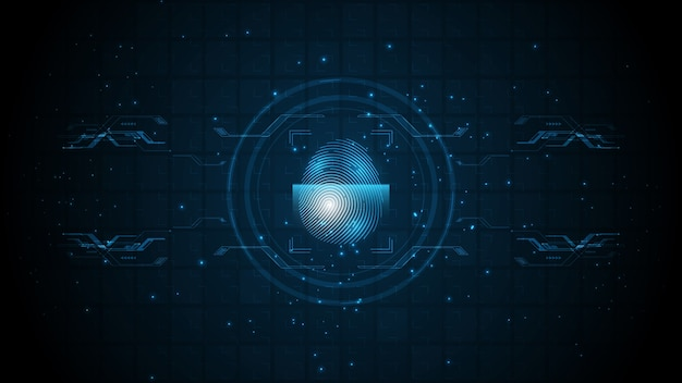 Numérisation d'empreintes digitales de concept numérique cyber sécurité