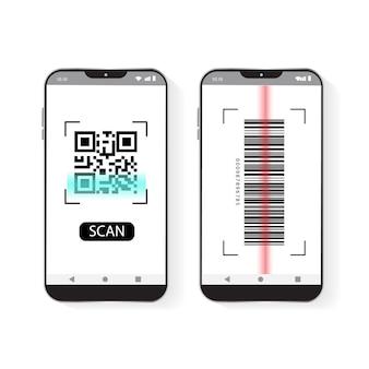 Numérisation de téléphone portable qr code et icône de vecteur de code à barres