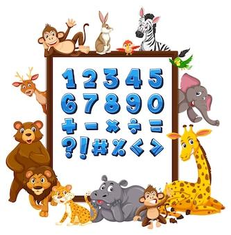 Numéro 0 à 9 et symboles mathématiques sur la bannière avec des animaux sauvages