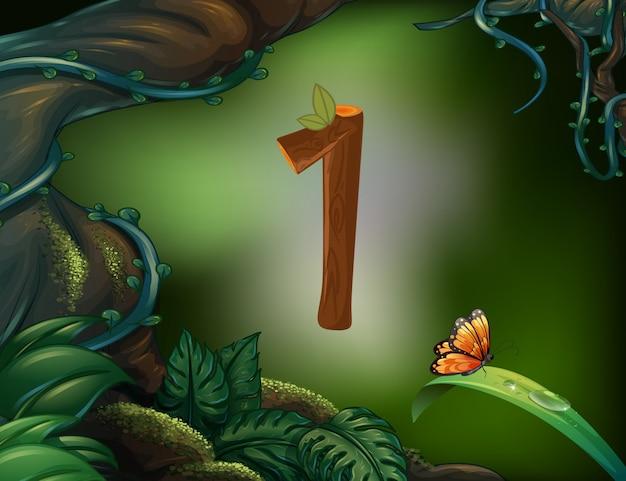 Numéro un avec 1 papillon dans le jardin