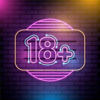Numéro 18+ dans le style néon