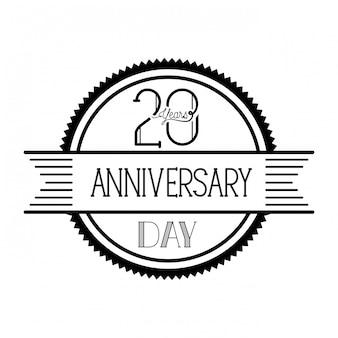 Numéro 20 pour l'emblème ou l'insigne de célébration d'anniversaire