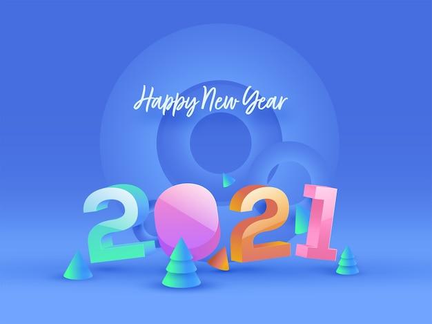 Numéro 2021 brillant 3d avec arbre de noël