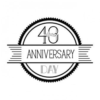 Numéro 40 pour l'emblème ou l'insigne de célébration d'anniversaire