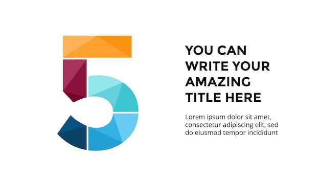 Numéro 5 modèle d'infographie présentation de diapositives conception de lettrage police créative