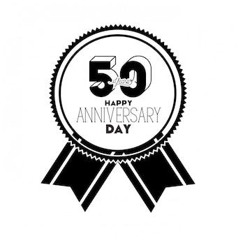 Numéro 50 pour l'emblème ou l'insigne de célébration d'anniversaire