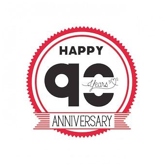 Numéro 90 pour l'emblème ou l'insigne de célébration d'anniversaire