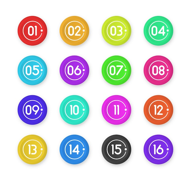Numéro de balle point marqueurs 3d colorés isolés sur fond blanc. icône de marqueur de balle avec numéro 1 à 12 pour infographie, présentation. couleur de dégradé de point collant.