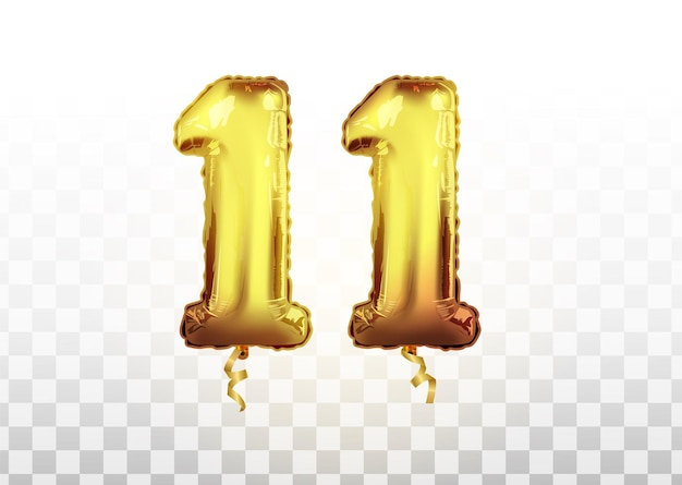 Numéro de ballon doré isolé réaliste de vecteur de 11 pour la décoration d'invitation sur le fond transparent. anniversaire réaliste de vecteur célébrant le nombre de ballons d'or 11