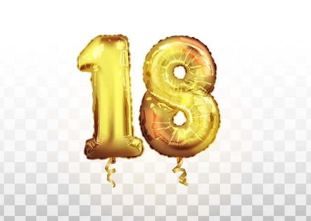 Numéro de ballon doré isolé réaliste de vecteur de 18 pour la décoration d'invitation sur le fond transparent. ballon d'or numéro de dix-huit