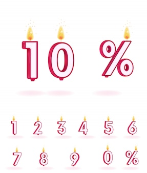 Numéro de bougie vecteur flamme anniversaire isolé