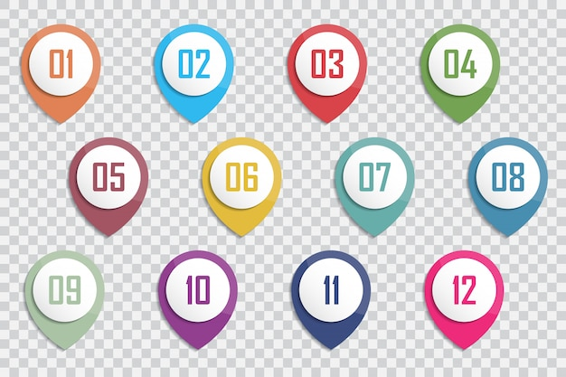 Numéro bullet point marqueurs 3d colorés 1 à 12 chiffres