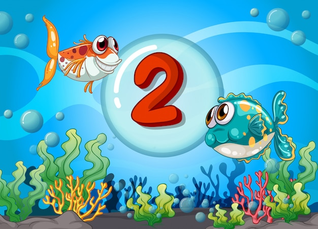 Numéro de carte deux avec 2 poissons sous l'eau