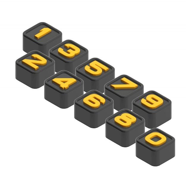 Numéro de cube 3d, illustration vectorielle.