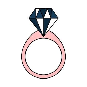 Numéro avec un diamant. alliance pour la proposition. bijoux. icône de mariage simple. illustration vectorielle de griffonnage