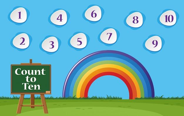 Numéro un à dix avec ciel bleu et arc-en-ciel coloré