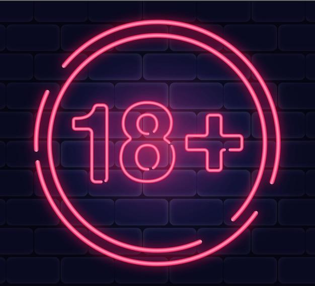 Numéro dix-huit plus dans le style néon