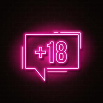 Numéro dix-huit plus en symbole de style néon