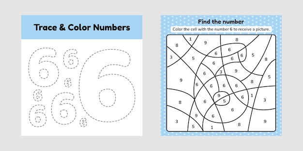 Numéro du livre à colorier. ligne de trace. écrivez et coloriez un six.